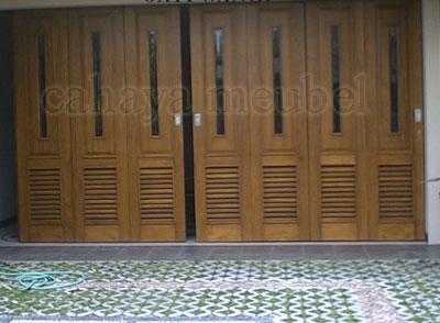 Pintu Garasi Minimalis Kayu Jati