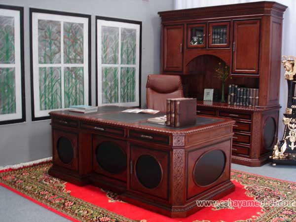 Set Meja Kantor Direktur Mewah Jati