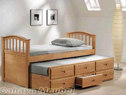 tempat tidur anak sorong minimalis kayu jati tempat tidur