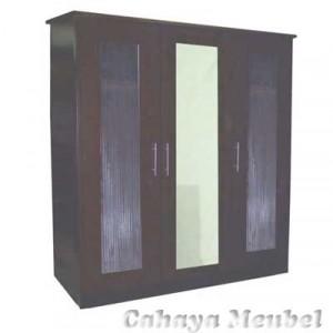 Lemari Pakaian Minimalis Modern 3 Pintu Kaca