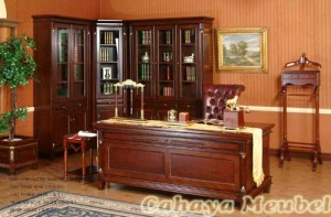 Set Meja Kantor Direktur Mewah Kayu Jati