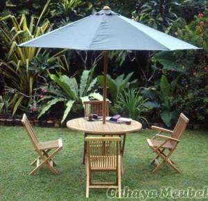 Set Kursi Lipat Meja Payung Kayu Jati