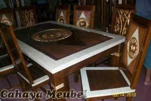 Meja Makan Balero 6 Kursi Finishing Marmer Jati