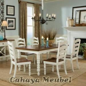 Set Kursi Makan Klasik Modern Warna Putih Duco