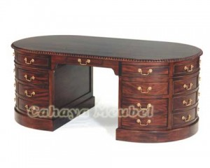 Meja Kantor Oval Klasik Furniture Jepara
