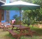 Meja Taman Payung Minimalis Jati