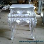 Meja Lampu Ukir Duco Putih