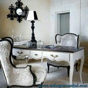 Set Meja Kerja Klasik Duco Putih