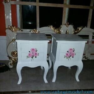 Set Meja Lampu Duco Putih Lukis Bunga