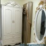 Lemari Pakaian Duco Putih Ukiran Jepara