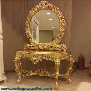 Meja Rias Mewah Full Ukir Gold