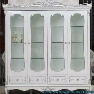 Lemari Pajangan Klasik Mewah 4 Pintu Putih