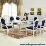 Set Meja Makan Klasik Duco Putih 6 Kursi