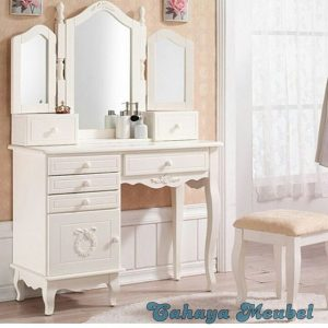 Meja Rias Klasik Kupu-Kupu Warna Putih