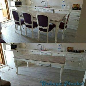 Set Kursi Makan Duco Putih Kombinasi Antik