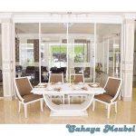 Set Meja Makan Mewah Minimalis Putih Duco