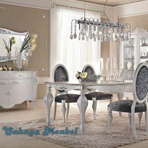 Meja Makan Minimalis Klasik Putih