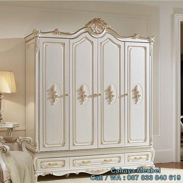 Lemari Pakaian 4 Pintu Mewah Duco Putih