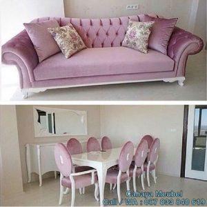 Set Kursi Makan Mewah Pink Bludru