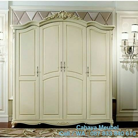 Lemari Pakaian 4 Pintu Duco Putih Jepara